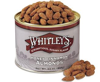 12-22 oz. Tins Honey Cinnamon Almonds (one case)